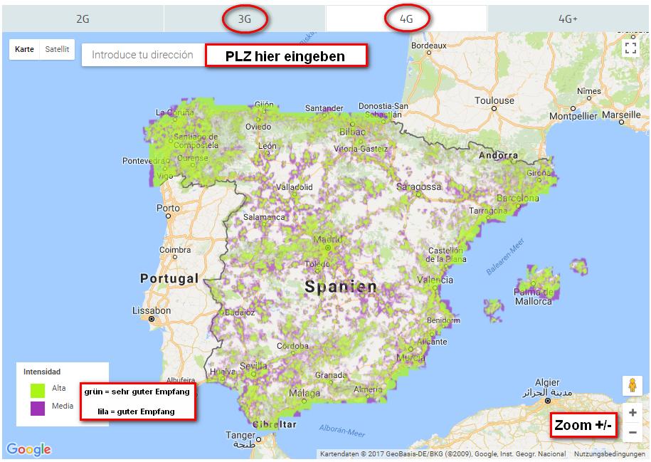 Lte Masten Karte.Karte Der Netzabdeckung Movistar Spanien