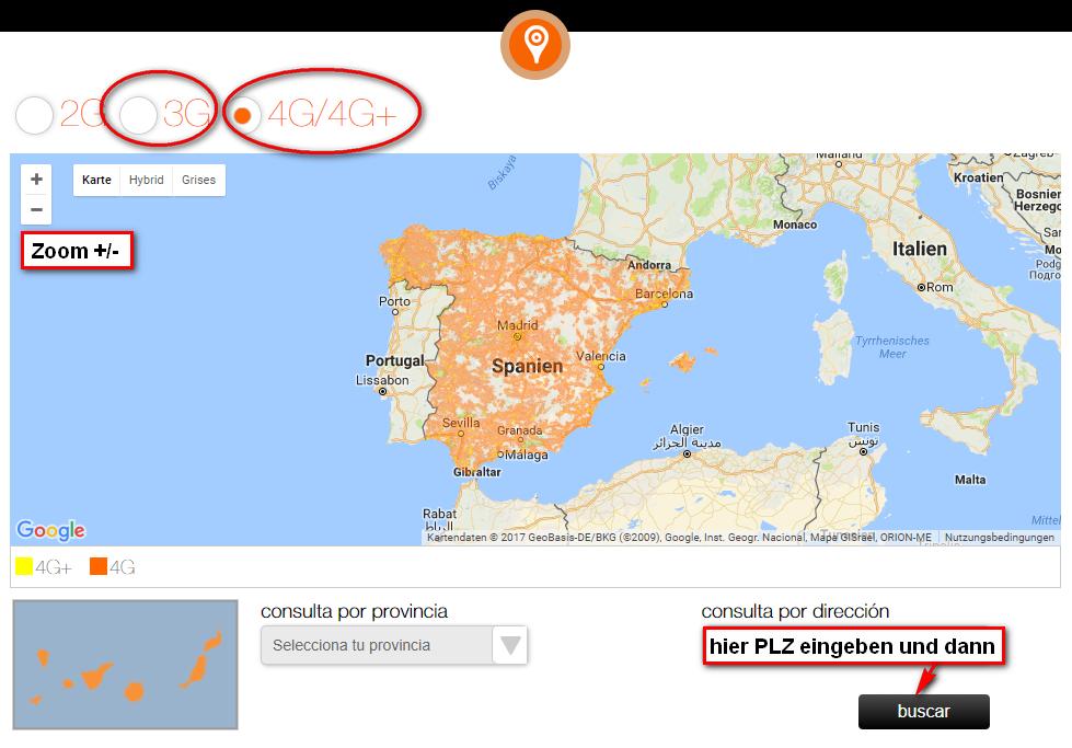 Lte Masten Karte.Karte Der Netzabdeckung Orange Spanien